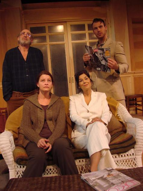 (clockwise from from left) Julie Hughett as Sasha, Michael D.Jacobs as Vanya, Rob August as Spike and Dena Martinez as Mash in Vanya and Sasha and Masha and Spike running through May 31 at the Circle Theatre in Carmel. Photo: Stephen Moorer