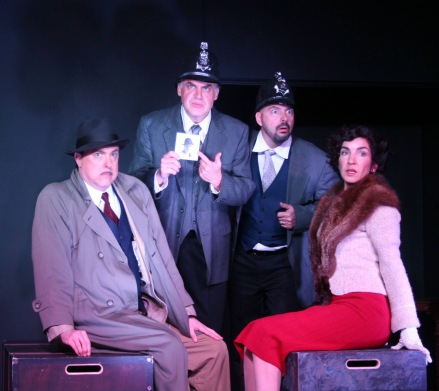 "(l. to r.) Kevin Heath as Richard Hannay, Jason Harris as Man #1, Bruce Pember as Man #2 and Roberta Vinkhuyzen as Annabella Schmidt in the Limelight actor Theater production of ""The 39 Steps"" running through May 2, 2015 at Gilroy's Center for the Arts."