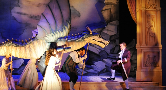 "Opera San José resident artist Kirk Dougherty as ""Tamino"" encounters a dragon in ""The Magic Flute"" playing April 18 through May 3 at the California Theatre, San Jose.  Photo: Pat Kirk"