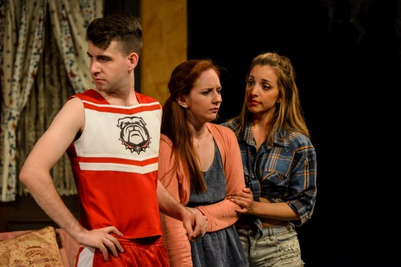 "Nan (Sara Renée Morris, center) seeks support from her friends Simon (Jacob Marker) and Sweetheart (Laura Espino) over how to deal with her abusive husband in ""Exit, Pursued by a Bear"" at City Lights Theater Company May 14 through June 14, 2015, at 529 S. Second St., downtown San Jose.  Photo: Mike Ko"
