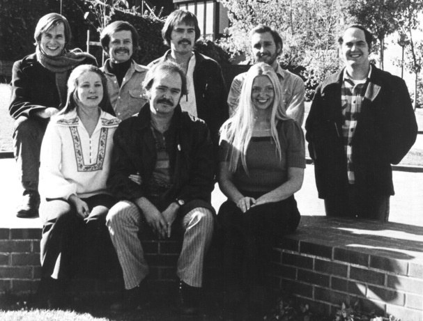 Oregon Shakespeare Festival Core Company- 19772-73 Front (l. to r.) Karen Seale, Phillip Davidson, Margit Moe. Back (l. to r.) Paul Myrvold, James Edmondson, Powers Boothe, Will Huddleston, Michael Winters.