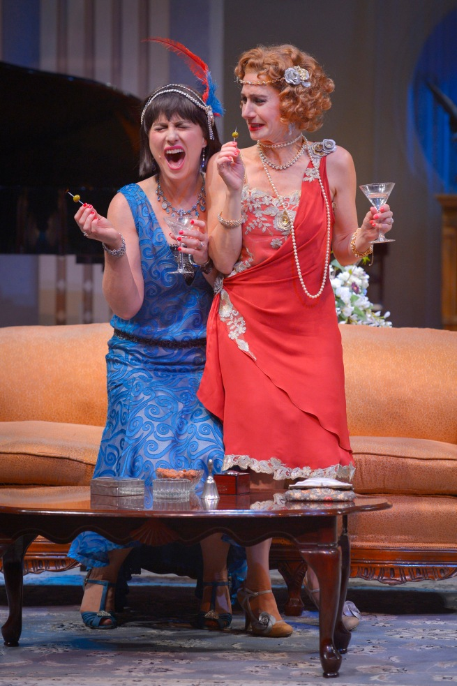 Rebecca Dines and Sarah Overman are two wives whooping it up in TheatreWorks Silicon Valley's production of Noël Coward's Fallen Angels playing June 3 - 28 at the Mountain View Center for the Performing Arts. Photo: Kevin Berne
