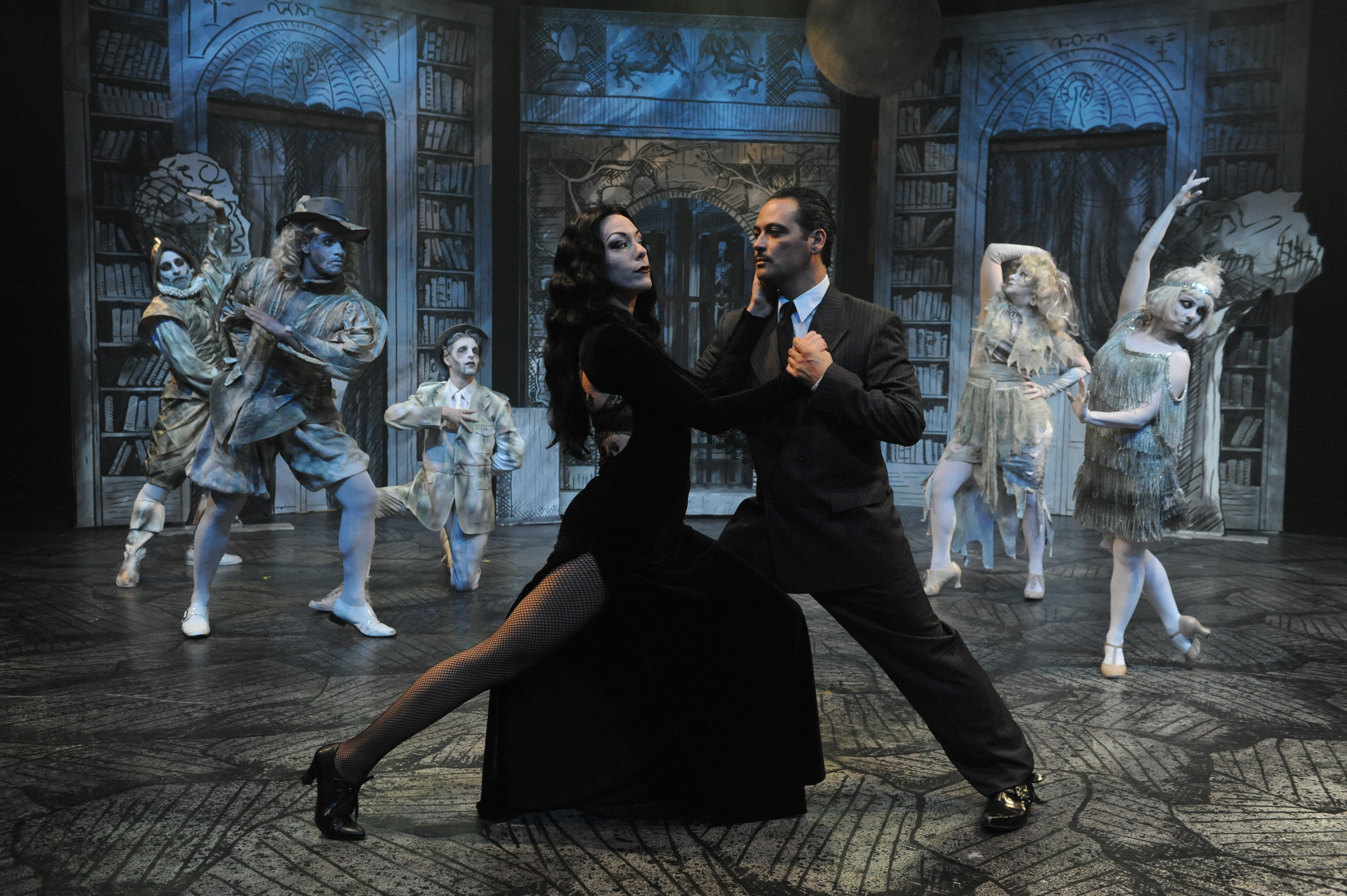san jose stage companys summer musical the addams family starring allison f rich addams family set