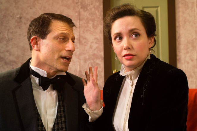 """Steve Shapiro and Lorie Goulart as """"Versati"""" and """"Louise"""" in """"The Underpants"""" at Northside Theatre Company running through July12 at the Olinder Theatre, 848 William Street, San Jose. Photo: Dana Grover"""