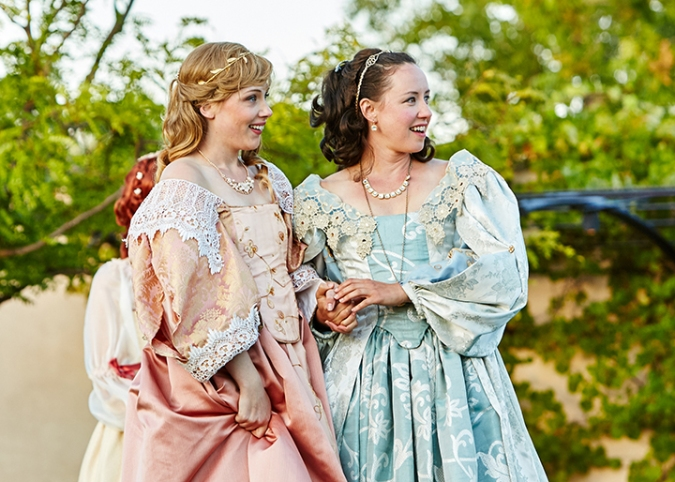 Lilian Wouters and Maryssa Wanlass in Livermore Shakespeare Festival's As You Like It  running through August 2 at Wente Vineyards Estate Winery & Tasting Room, 5565 Tesla Road, Livermore, CA 94550. Costumes by Barbara Murray. Photo: Gregg Le Blanc