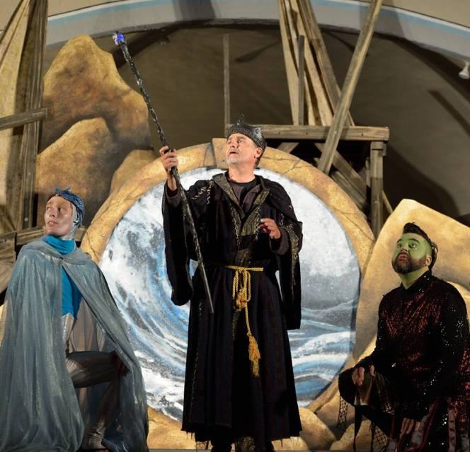 "(l. – r.) Dorian Tayler as Ariel, David Graham as Prospero and Patrick Vest as Caliban Shakespeare by the Sea's production of ""The Tempest."""