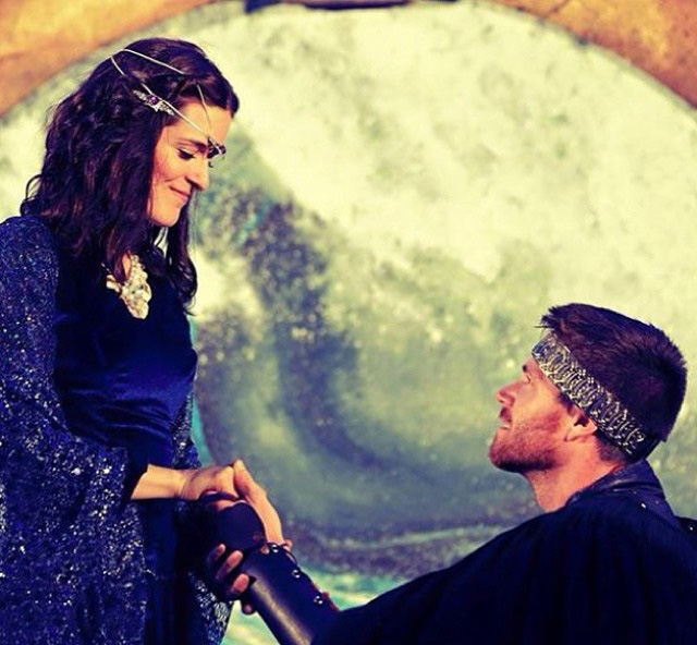 "(l. – r.)  Kathryn Farren as Miranda and Brant Rotnem as Ferdinand in Shakespeare by the Sea's production of ""The Tempest"" running through August 22 at various venues."