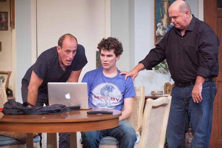 """(l. – r.) Nick (Alex Fernandez), Luka (Nick Marini) and AJ (Vince Melocchi) react to the Internet in """"Luka's Room"""" running through September 20 at Rogue Machine Theatre. (www.RogueMachineTheatre.com)"""
