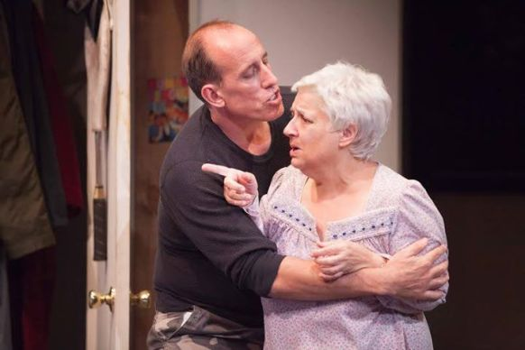 "Nick (Alex Fernandez) comforts  Grandmother Franca (Joanna Lipari) through a moment of dementia in ""Luka's Room"" running through September 20 at Rogue Machine Theatre. (www.RogueMachineTheatre.com)"