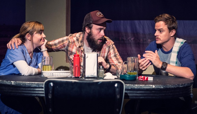 "Jessica Goldapple, Ian Merrigan and Eric Hunicutt in the Echo Theatre Company production of Miki Johnson's ""American Falls"" running through October 18 at Atwater Village Theatre. Photo: Darrett Sanders"