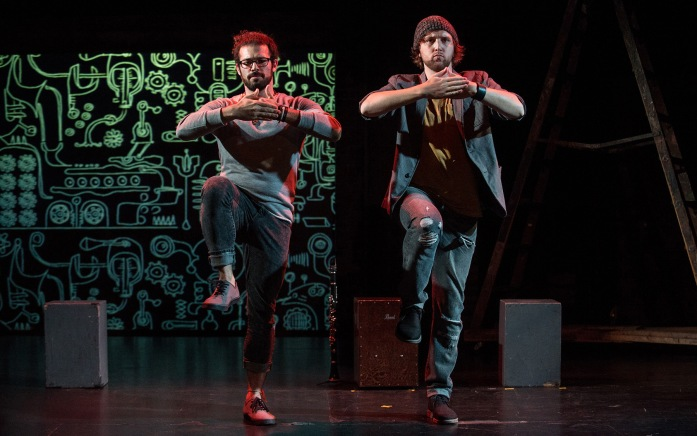 """Leeav Sofer and Andrew Huber in """"Man Covets Bird"""" now playing at 24th Street Theatre through November 1. Photo: Cooper Bates"""