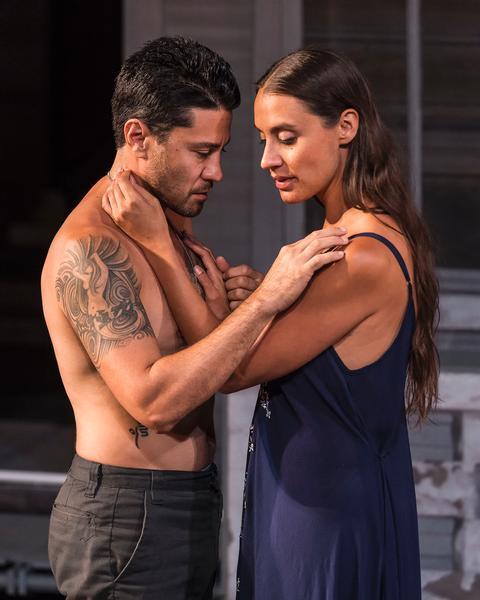 """Justin Huen (Hason) and Sabina Zuniga (Medea) in """"Mojada: A Medea in Los Angeles"""" at the Getty Villa through October 3. Photo: Craig Schwartz"""