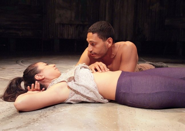 """Natalie Camunas as Mónica and Christopher Rivas as Luis in """"Seven Spots on the Sun"""" playing through November 1 at The Theatre  Boston Court. Photo: Ed Krieger"""