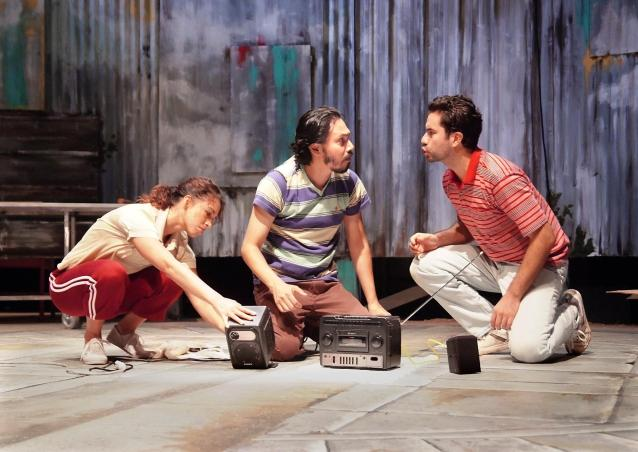 """Dianna Aguilar, Michael Uribes and Daniel Penilla are The Town in """"Seven Spots on the Sun"""" playing through November 1 at The Theatre  Boston Court. Photo: Ed Krieger"""