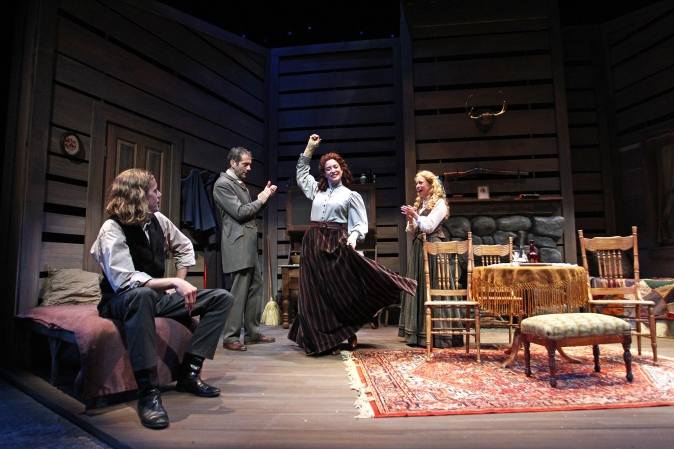 Adam Haas Hunter, Daniel Reichert, Paige Lindsey Whiteand Lily Holleman in South Coast Repertory's 2015 production of Abundance by Beth Henley.  Photo: Debora Robinson/SCR.