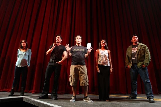 Samantha Quan, Raymond Lee, Paco Tolson, Maureen Sebastian and Jon Hoche in South Coast Repertory's 2015 world premiere of Vietgone by Qui Nguyen.  Photo: Debora Robinson/SCR