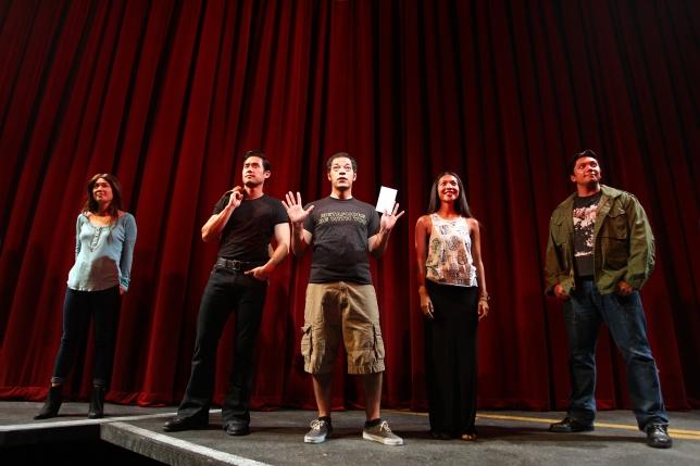 Samantha Quan, Raymond Lee, Paco Tolson, Maureen Sebastian and Jon Hoche in South Coast Repertory's 2015 world premiere of Vietgoneby Qui Nguyen.  Photo: Debora Robinson/SCR