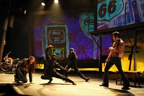 Paco Tolson, Maureen Sebastian, Samantha Quan andRaymond Leein South Coast Repertory's 2015 world premiere of Vietgoneby Qui Nguyen.  Photo: Debora Robinson/SCR