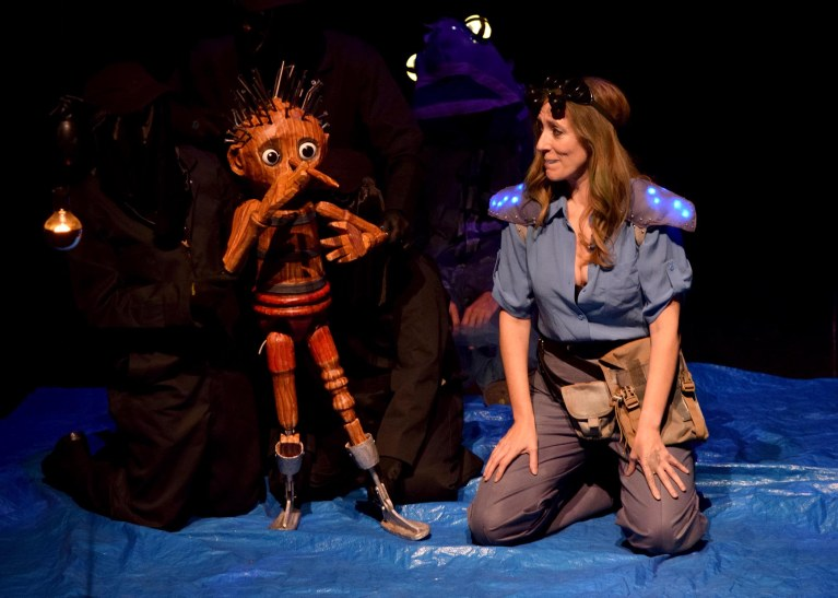 Puppet (Rudy Martinez, with puppeteers Lisa Dring and Mark Royston) and Blue (Nina Silver). Photo: Chelsea Sutton