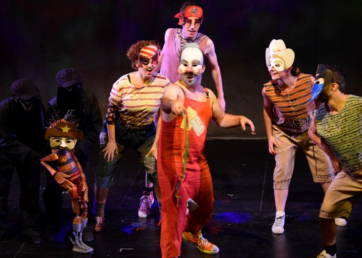 Puppet (Rudy Martinez, with puppeteer Lisa Dring), Wick (Veronica Mannion), the MC of Funland (Miles Taber) and Funland Children (Mark Royston, Stephanie O'Neill and Willem Long). Photo: Chelsea Sutton