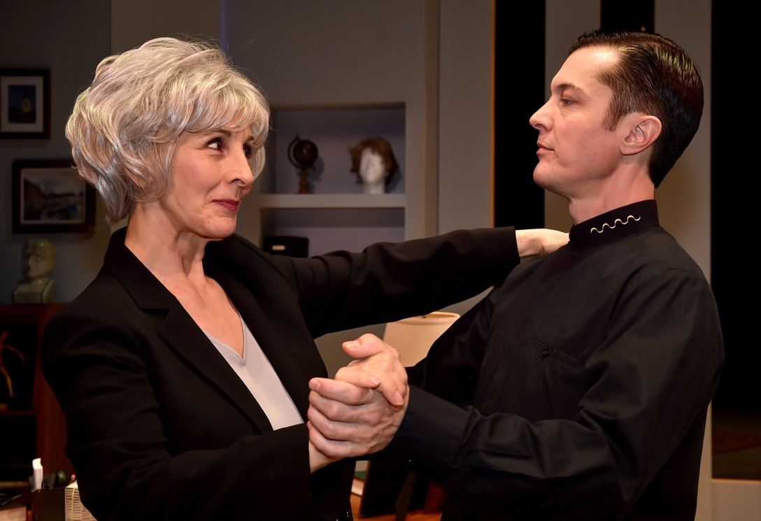 Susan Denaker and Jacob Sidney star in the Uncanny Valley, directed by Caryn Desai at the International City Theatre in Long Beach.